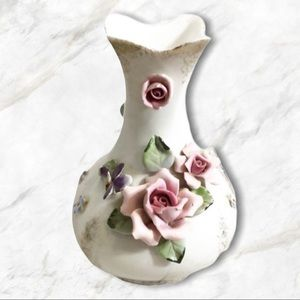 L'Amour China Gilt Edged Hand Painted Vase Roses